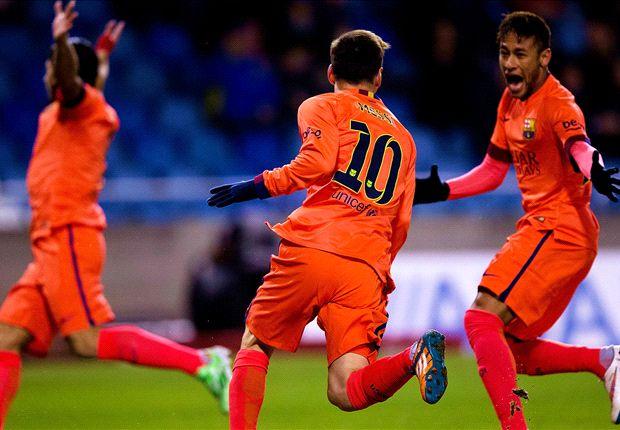 Traf in La Coruna drei Mal: Lionel Messi (m.)