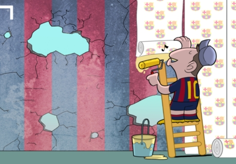 Messi disimula los problemas del Barça
