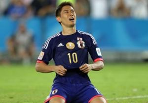 Eskpresi kekecewaan Kagawa usai gagal menembak