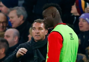 Mario Balotelli receives instructions from Brendan Rodgers before replacing Lazar Markovic.
