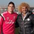 Valderrama visitó a James en el entrenamiento del Real Madrid