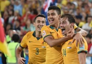 Australia celebrate James Troisi's winner