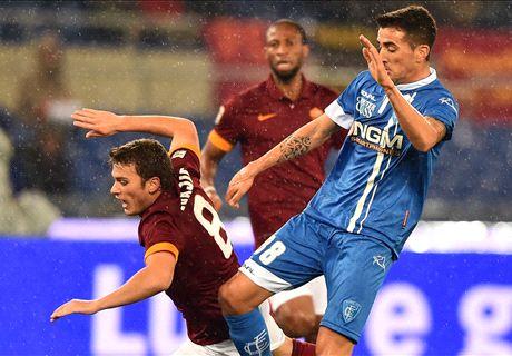 Roma-Empoli LIVE! 1-1, traversa Astori