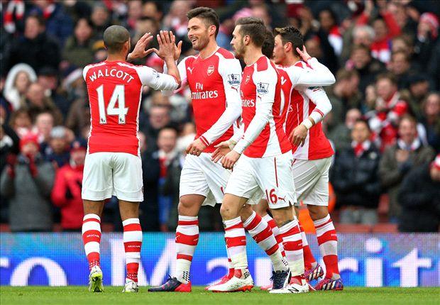 Arsenal 5-0 Aston Villa: Ozil & Walcott on target as Gunners cruise