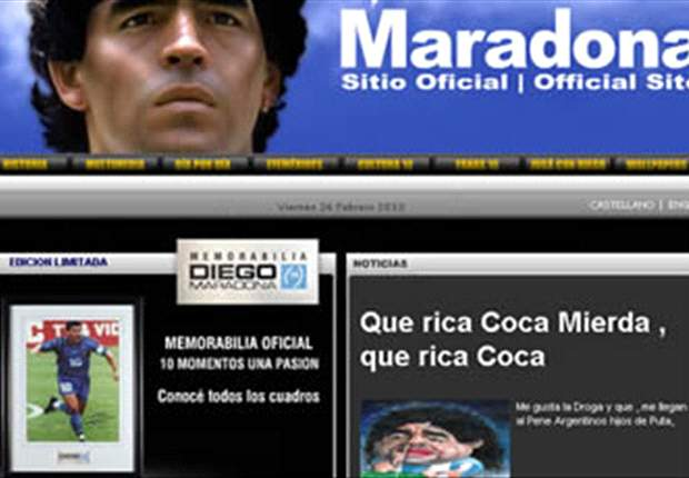 Argentina Coach Diego Maradona's Website Hacked