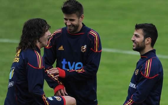 Carles Puyol, Gerard Pique, Cesc Fabregas, Spain (Getty Images)